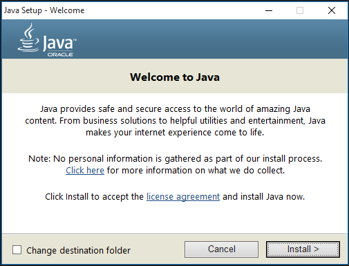 java blank install screen2